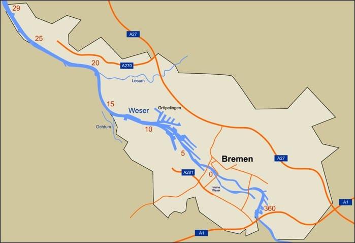 Angelschein Bremen - Einteilung der Weserabschnitte