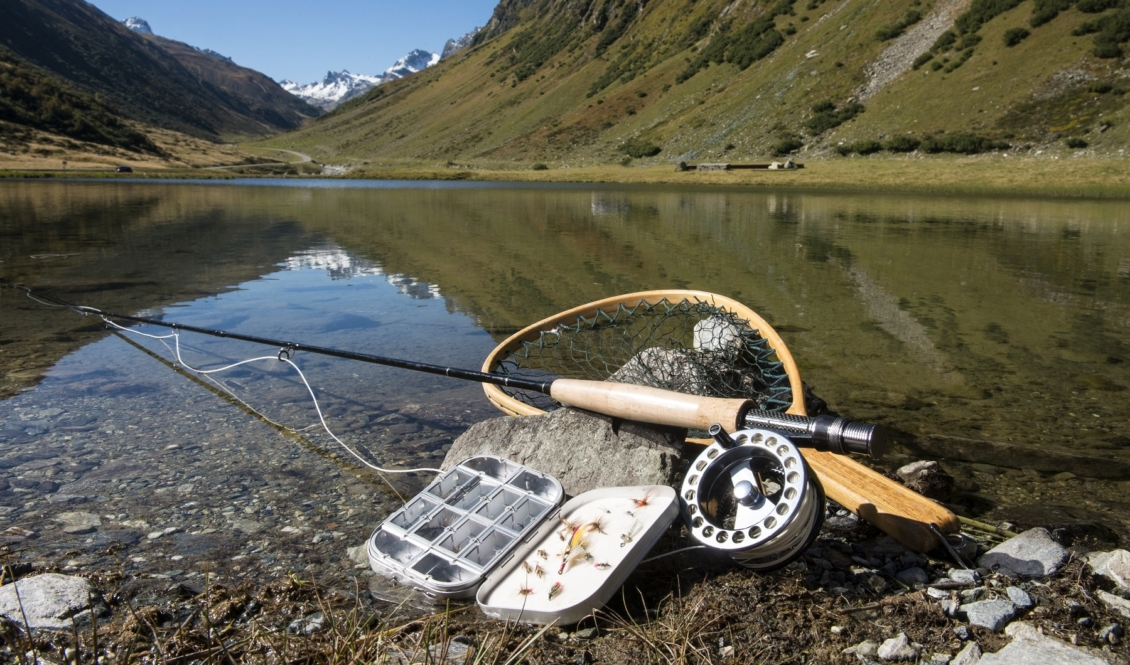 Fliegenrute zum Fliegenfischen auf Bachforellen